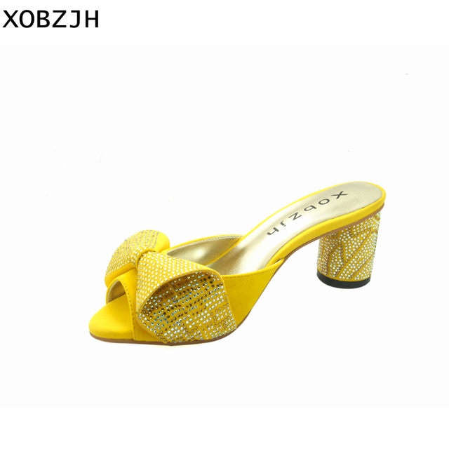 e103c304f4 US $60.0 |XOBZJH Summer Women Yellow Sandal Shoes 2019 Genuine Leather  Floral Rhinestone Sexy Ladies Party Shoes Woman Block Heel Us 11-in High  Heels ...