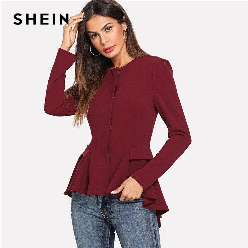 SHEIN Burgundy Side Pocket Smock Solid Office Lady Workwear Coat Women Round Neck Ruffled Asymmetrical Hem Elegant Outerwear