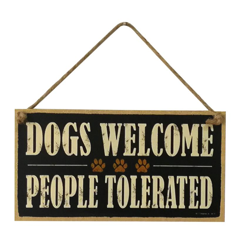Wooden Puzzle Board Sign DOGS WELCOME PEOPLE TOLERATED Hanging Sign Board Wall Door Decorations