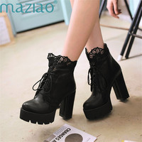 Women Pumps Autumn Shoes Lace Boots High Heels Motorcycle Round Toe Ankle Boots Platform Lace Up Boots MAZIAO