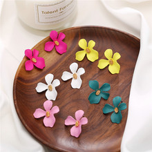 2019 Bohemian Flower Stud Earrings For Women Brincos Fashion Simple Colorful Earring Statement Handmade Female Jewelry