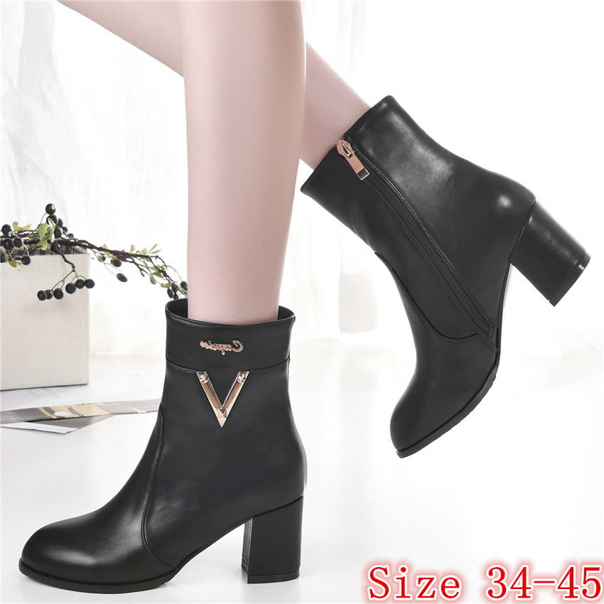 Spring Autumn Winter Women Ankle Boots Square High Heels Shoes Woman Short Boots High Quality Plus Size 34-40.41,42,43.44,45