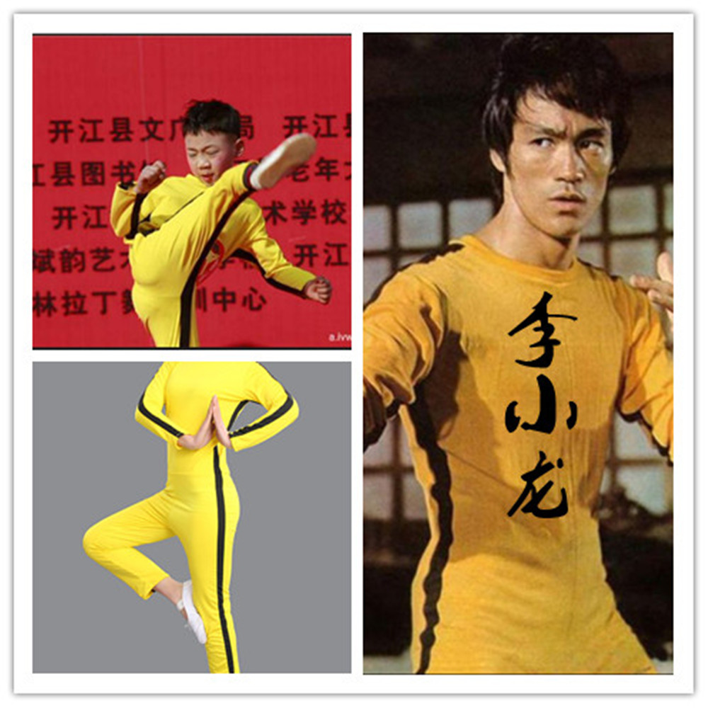 Image 5 - Adult Kids Bruce Lee Cosplay Jeet Kune Do Uniform Unisex Yellow Jumpsuit Chinese Kung Fu Training Suit Game of Death CostumeMovie & TV costumes   -