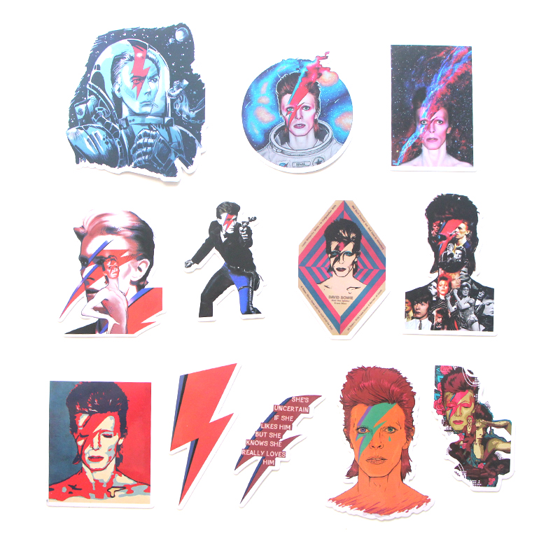 12pcs David bowie funny vintage DIY scrapbooking album Luggage Laptop Motorcycle notebook decal Waterproof Sticker E0046 in Stickers from Home Garden