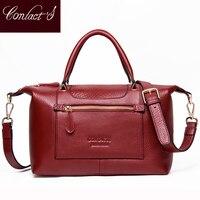 Fashion Genuine Leather Top Handle Women Handbag Casual Large Capacity Tote Crossbody Bags Solid Ladies Zipper