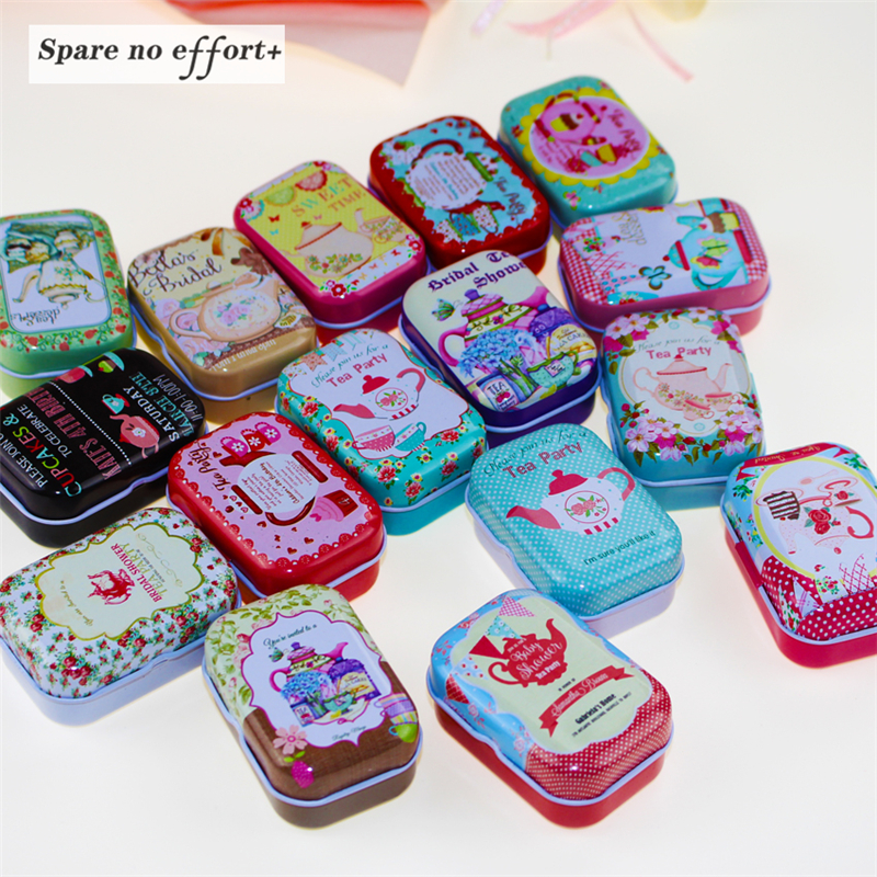 12pcs/lot Mini Cute Cartoon Tin Metal Box Case Home Storage Organizer For Jewelry Kids Toy Gift Home Supplies Free shipping