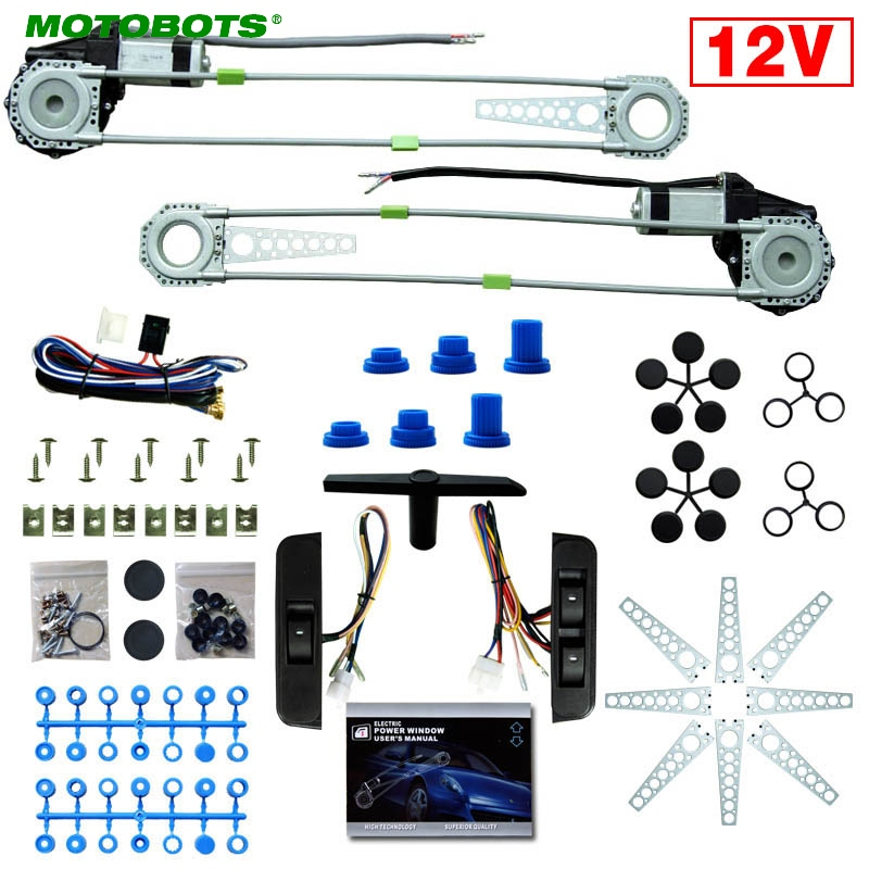MOTOBOTS 1Set Car Auto Universal 3pcs/Set Switches And Harness + 2-Doors Electric Power Window Kits #AM3437