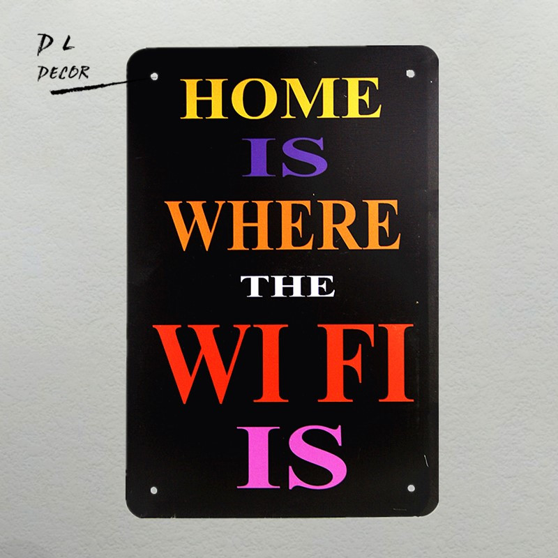 "DL-""Dwelling Is The place The WI FI Is"" Classic Fashion Tin Signal store cafe Dwelling decor house decor, adorning type, ornamental house decor,Low cost house decor,Excessive High quality adorning..."