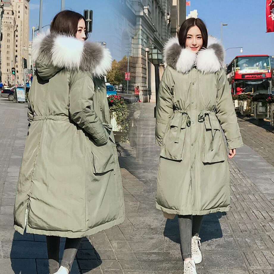 Plus size Women s winter white duck down coat raccoon fur collar thickening pregnant jacket X