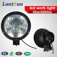 1 pc super bright round 9 inch 50 w led work light spot beam 10 degree DC 12v /24v for Jeep, truck, SUV, ATV, tractor,