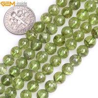 Gem inside 7mm 8mm Green Natural Peridot Quartz Gemstone Stone Semi Precious Round Beads For Jewelry Making Valentine Gift
