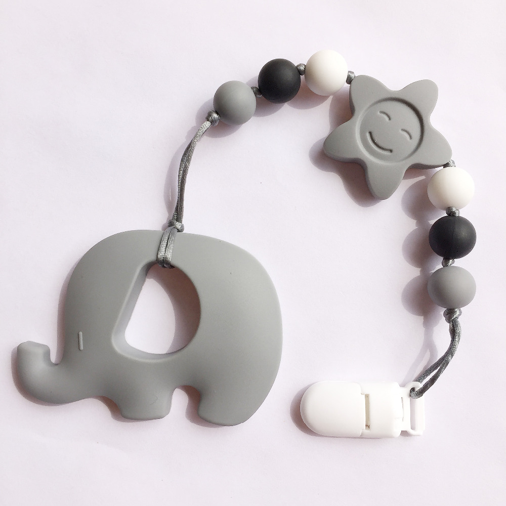 Newest silicone baby teething pendant clips silicone teething newest silicone baby teething pendant clips silicone teething pacifier clip with large elephant pendant heart chew beads in pendants from jewelry mozeypictures Gallery