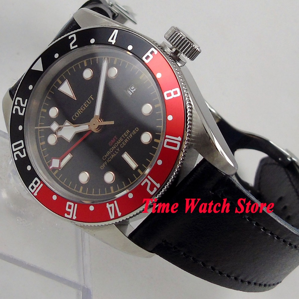 41mm Corgeut GMT mens watch black dial golden marks black red Bezel sapphire glass Automatic movement wrist watch cor10841mm Corgeut GMT mens watch black dial golden marks black red Bezel sapphire glass Automatic movement wrist watch cor108