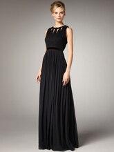 Bodenlangen 2015 Heißer Verkauf Draped Neue Ankunft Lange Chiffon Abendkleid Kleid Elegante Scoop Neck Abend Formale Sleeveless De Noche