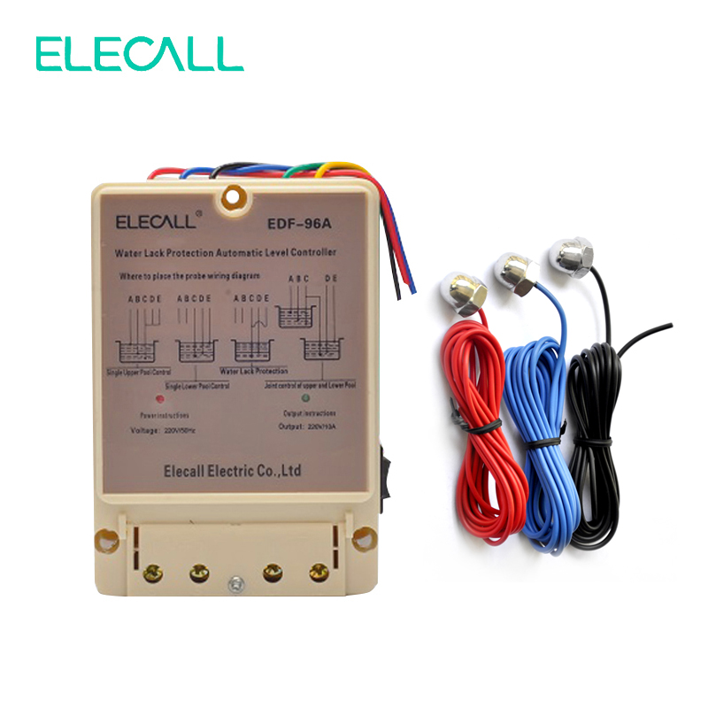 ELECALL EDF-96A Water Automatic Level Controller 10A 220V Electronic Water Liquid Level Detection Sensor Water Pump Controller free shipping electronic water level controller atc60a03 gprs rtu controller