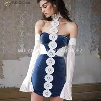 EDGLulu tube top dress elegant short mini velvet lace hanging neck hollow designer runway 2018 high quality fit and flare dress