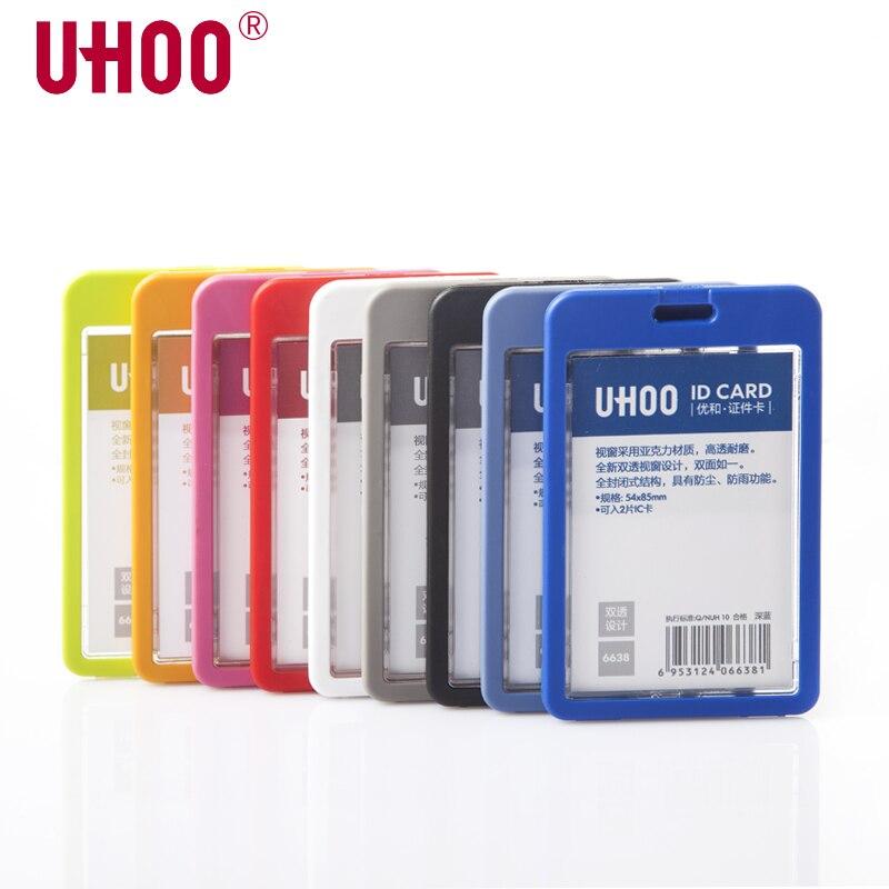 Haute qualité UHOO 6638 Vertical Double face Transparent porte-carte didentité école porte-carte étanche nom porte-Badge