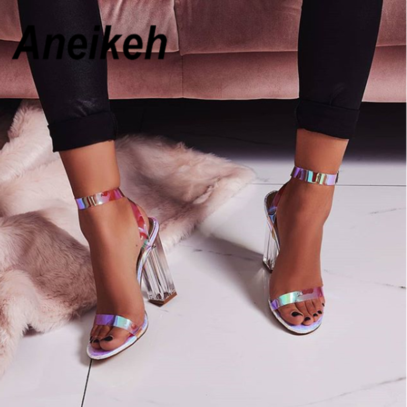 Aneikeh 2019 Summer Transparent Ladies Sandals Crystal Square Buckle Strap With Party Sexy Open Toe High Heel Shallow Sandals