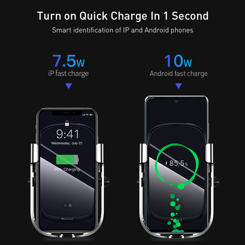 Baseus 10W Qi Wireless Car Charger For iPhone Car Wireless Charger Intelligent Infrared Fast Wireless Charging Car Phone Charger 2