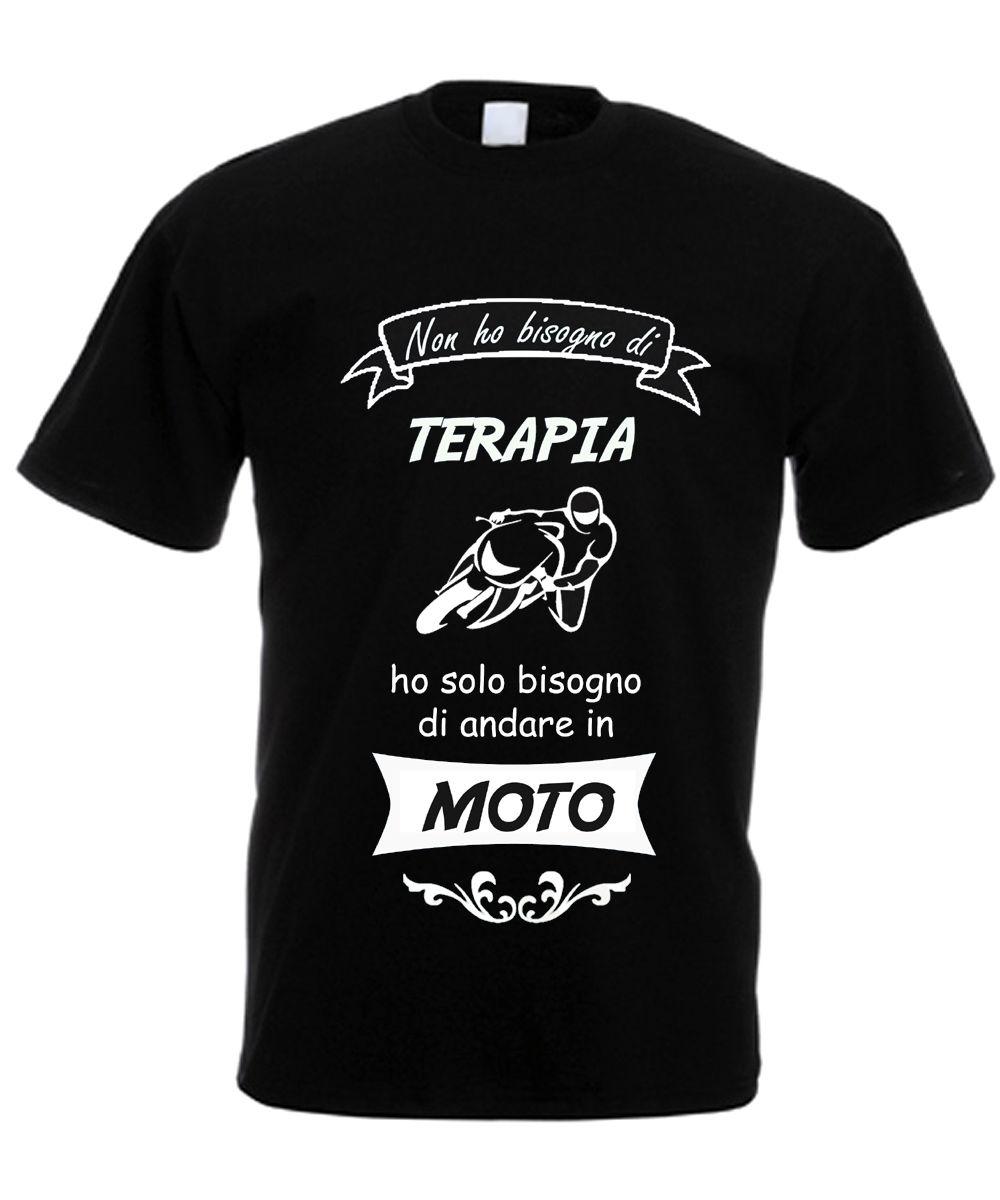 T-SHIRT UOMO NON HO BISOGNO TERAPIA MA DI ANDARE In Moto MAGLIETTA MOTOCICLISTA Short Sleeve T Shirt Men Trend