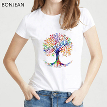 Watercolor Tree of Life printed tshirt women cute t shirt femme round neck summer top female t-shirt camiseta mujer tee