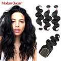 Queen Hair Products 3 Bundles Brazilian Body Wave with Closure Brazilian Human Hair Weaves 7a Brazilian Virgin Hair with Closure