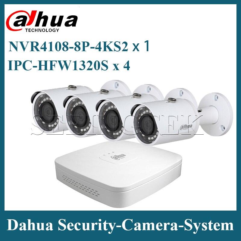 Dahua Security Camera System 4PCS 3MP IPC-HFW1320S Mini Bullet & One 8POE NVR4108-8P-4KS2 Surveillance P2P System Remote Viewing
