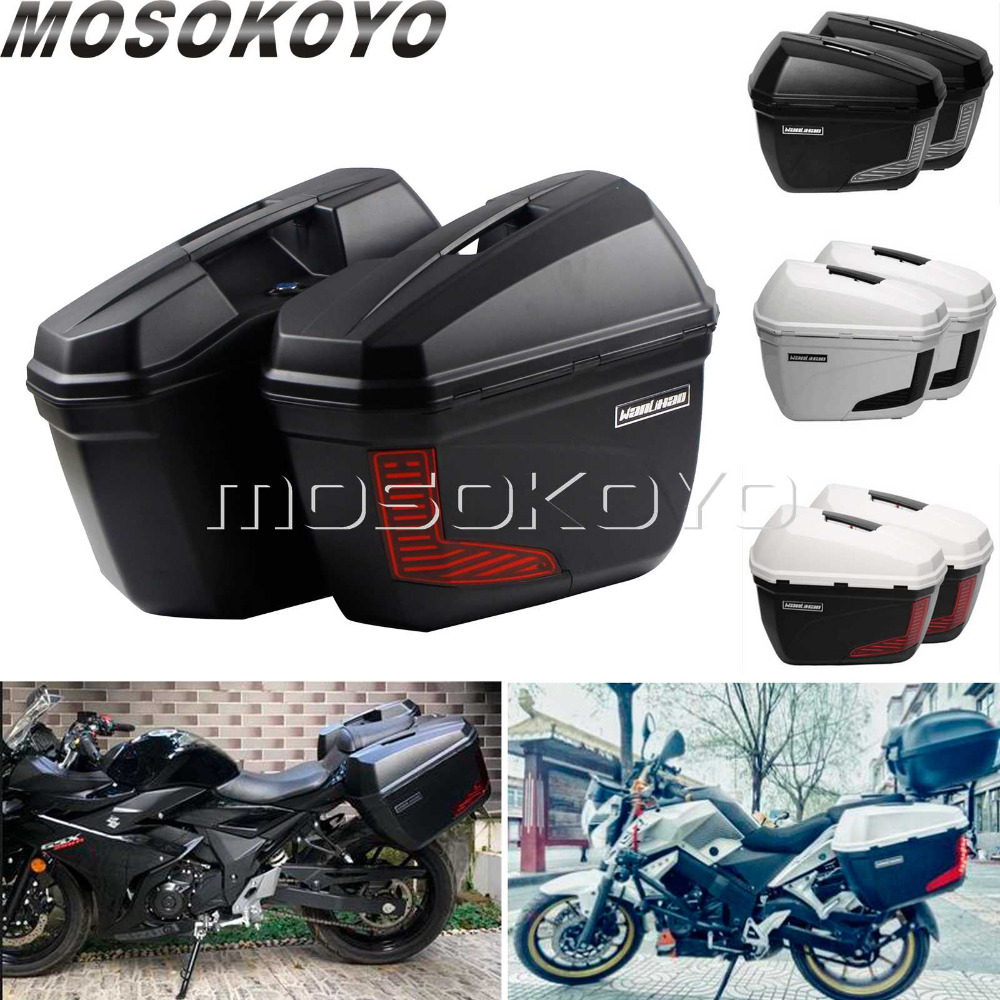2X 23L Motorcycles Side Case Side Pannier Luggage Box W Mounting Bracket for BMW R1200 F800