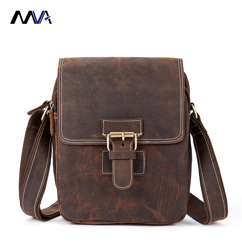 MVA Crazy Horse Genuine Leather Men Bag Male Vintage Small Men Shoulder Messenger Bags Small Crossbody Bags Messenger Bag simline 2017 vintage genuine crazy horse leather cowhide men men s messenger bag small shoulder crossbody bags handbags for man