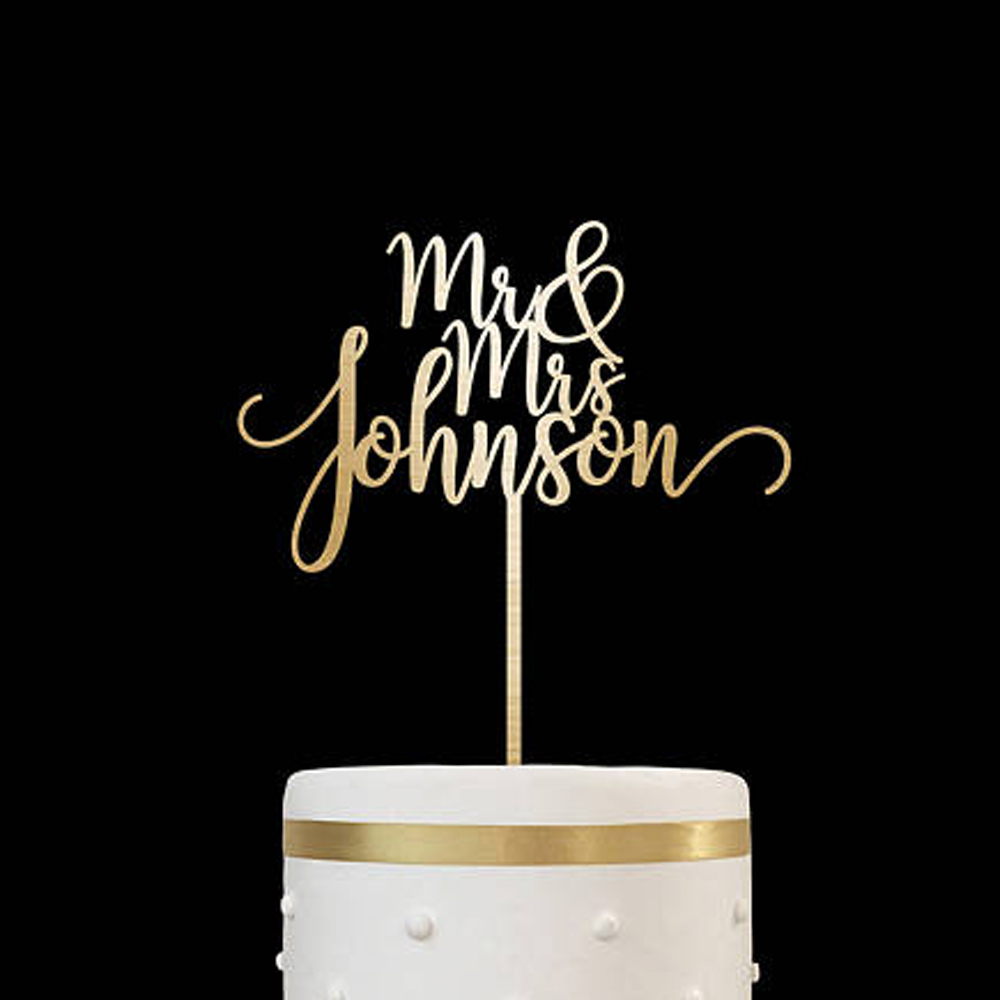 Custom cake topper rustic names cake topper Wedding Cake Decoration Personalized Anniversary gold silver wood cake topper