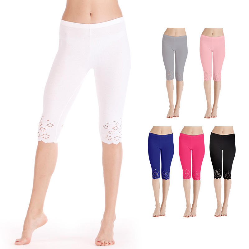 Knitted Short Leggings Women Summer Cropped Pants Female Jegging Safe Pants Mid-calf Capris Push Up Hollow Out Flower