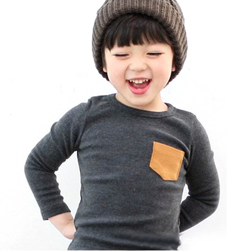 Autumn Baby Kids Long Sleeve Crewneck T-shirt Pocket Decor Boy Girl Shirt Clothes 2-7 Years Hot Sale