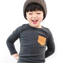 Baby Дети С Длинным Рукавом Crewneck Футболка Карманный Декор Мальчик Девочка Рубашка Одежда 2-7 Y