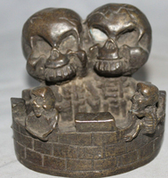 song voge gem S2454 4 Chinese Dynasty Palace Bronze Man woman Die Pair Skull Head Statue ashtray