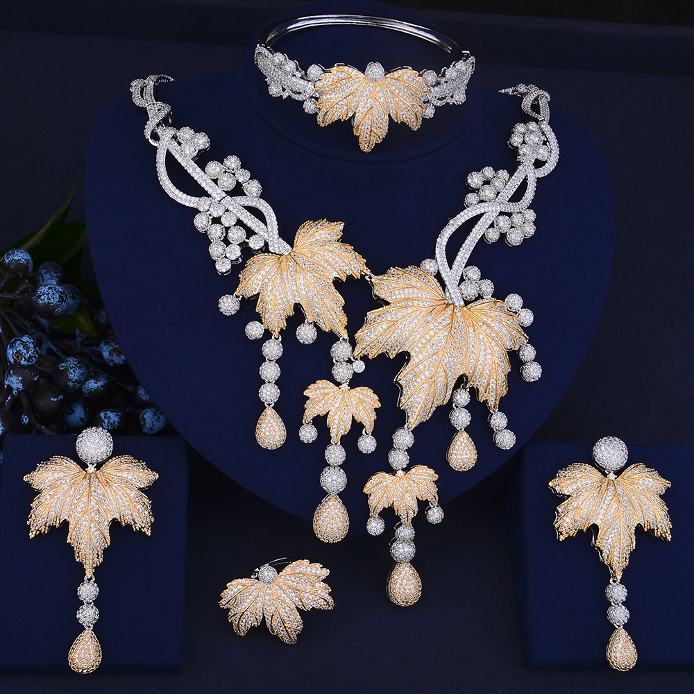 GODKI Luxury Pumpkin Leaf Long Tassel Nigerian Jewelry Set For Women Wedding Zircon Crystal CZ Indian African Bridal Jewelry Set a suit of chic rhinestoned leaf wedding jewelry set for women