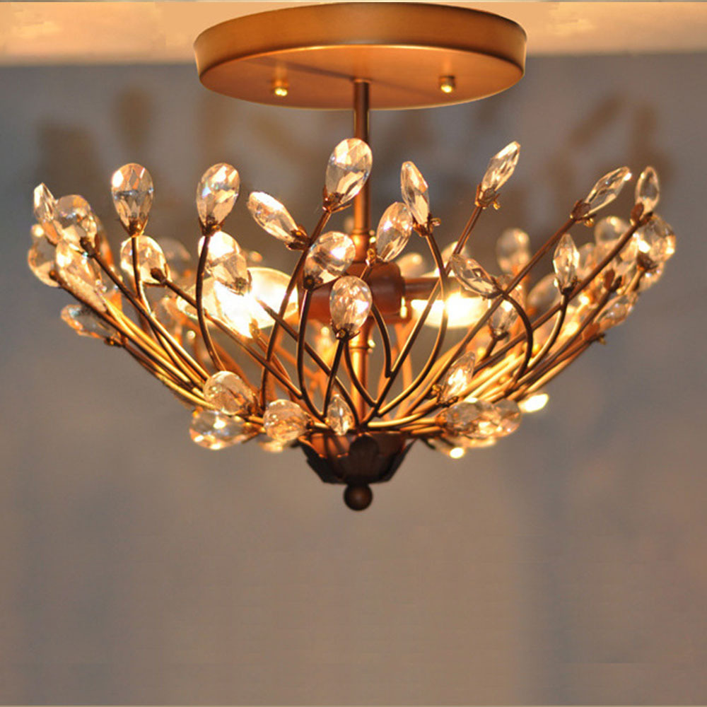 Black Iron Body&Crystal Lampshade Tree Branch Shape Ceiling Light ...