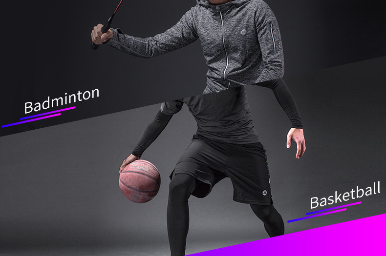 Photo of badminton capacity ROCKBROS men's training quick dry suit 5 pcs. 5 pcs male running set sweat absorbent