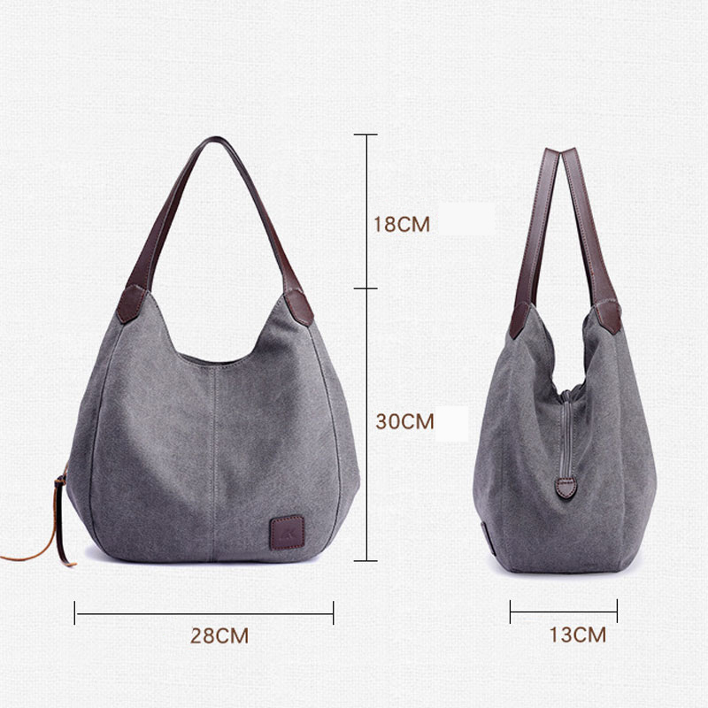 Image 2 - Aosbos 2019 Brand Women's Canvas Handbag High Quality Female Shoulder Bag Vintage Solid Multi pocket Fashion Ladies Totes Female-in Top-Handle Bags from Luggage & Bags