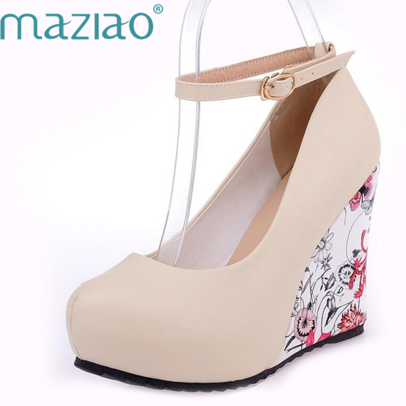MAZIAO Fashion Ankle Strap High Wedges Platform Summer Pumps For Women Casual Dress Elegant Flower Print Wedges Platform Shoes