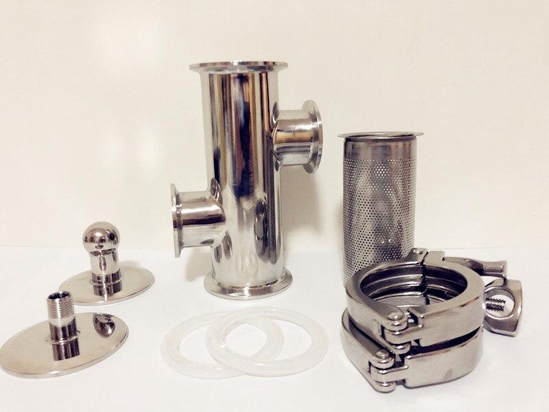 Gratis Verzending 2 (51mm) OD64 Gin Mand Set Voor Destillatie, 2 * Side Poorten 1.5 (38mm) OD50.5 Met Filter Van V 180ml, SS304 - 2