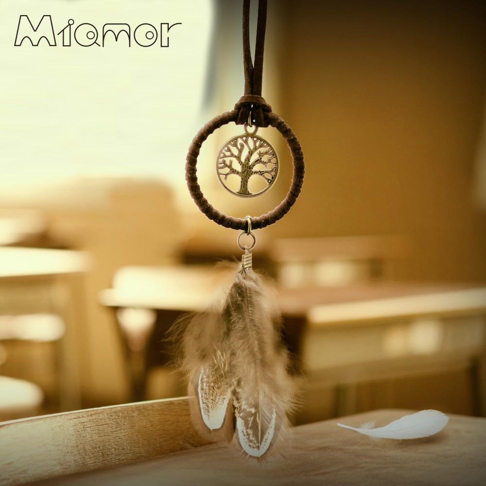MIAMOR Tree Of Life Mini Dreamcatcher Handmade Dream Catcher Net With Feather Decoration Ornament Diameter 3.5cm Amor048