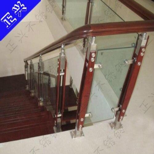 Glass Stair Armrest Railing Guardrail Railing Stainless Steel Wood Clip Wood  Column