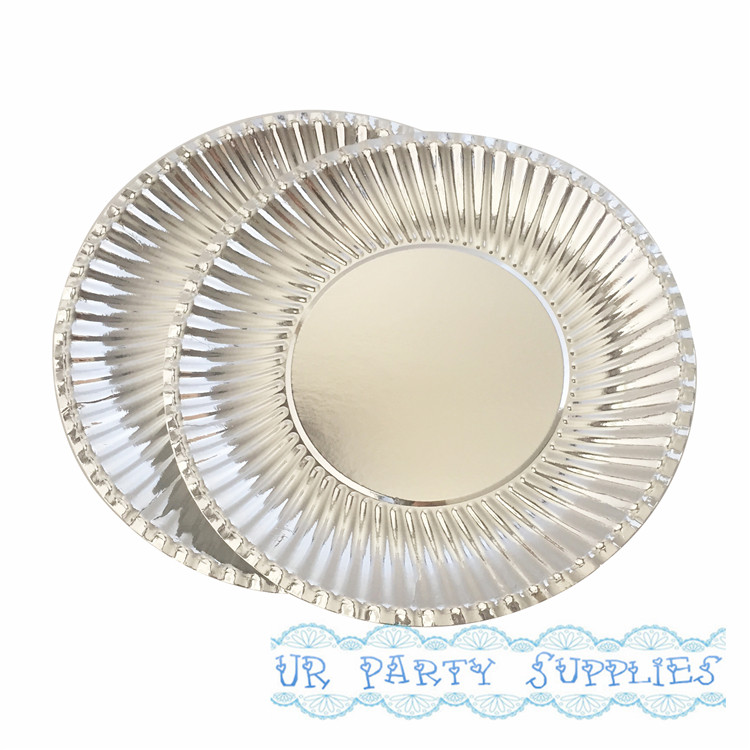 New Arrival 50pcs Pack Silver Foil Paper Plates Disposable Party Tray Valentine Birthday Wedding Cake Tableware In