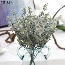 YO CHO 6 Branches Grass Leaves Milan Simulation Eucalyptus Flower Artificial Fake Floral Cafe Office Home Room Hotel Table Decor(China)