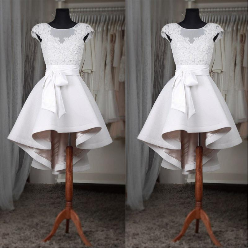 Real Photo   Cocktail     Dresses   2019 Appliqued Lace Short Prom   Dress   Sheer sukienki koktajlowe Formal Girls Special Occasion Party