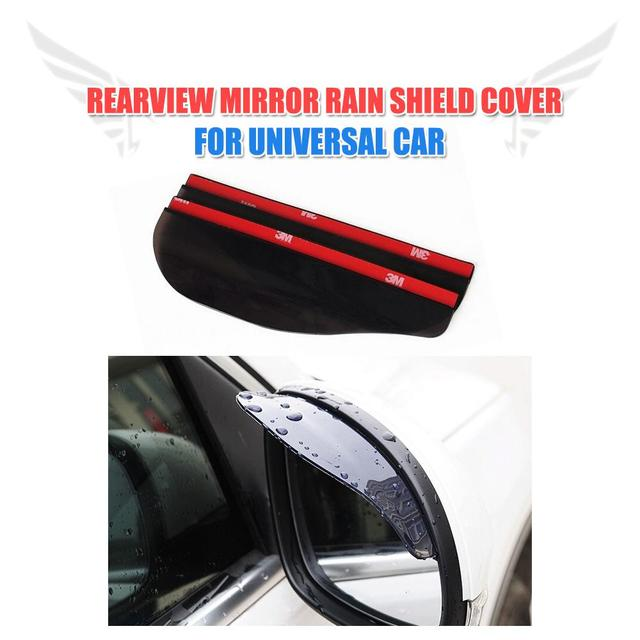 2Pcs Universal Car Rearview View Mirror Sticker Rain Eyebrow Weatherstrip for All Cars