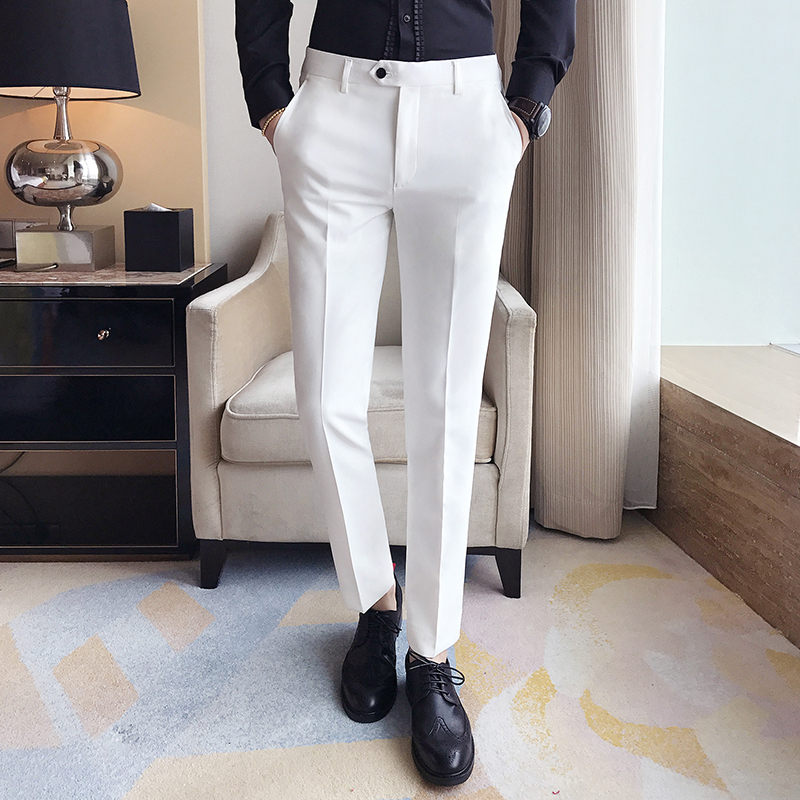 2019 New Men Ankle Length Pants Slim Men's Dress Pants Office Pants Men's Boutique Fashion Solid Color Business Men's Suit Pant