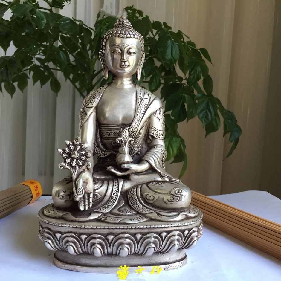 China Silver Buddhism fine dragon Po Sang Buddha Lotus seat Sculpture Medicine Buddha Statue-in Statues & Sculptures from Home & Garden    1