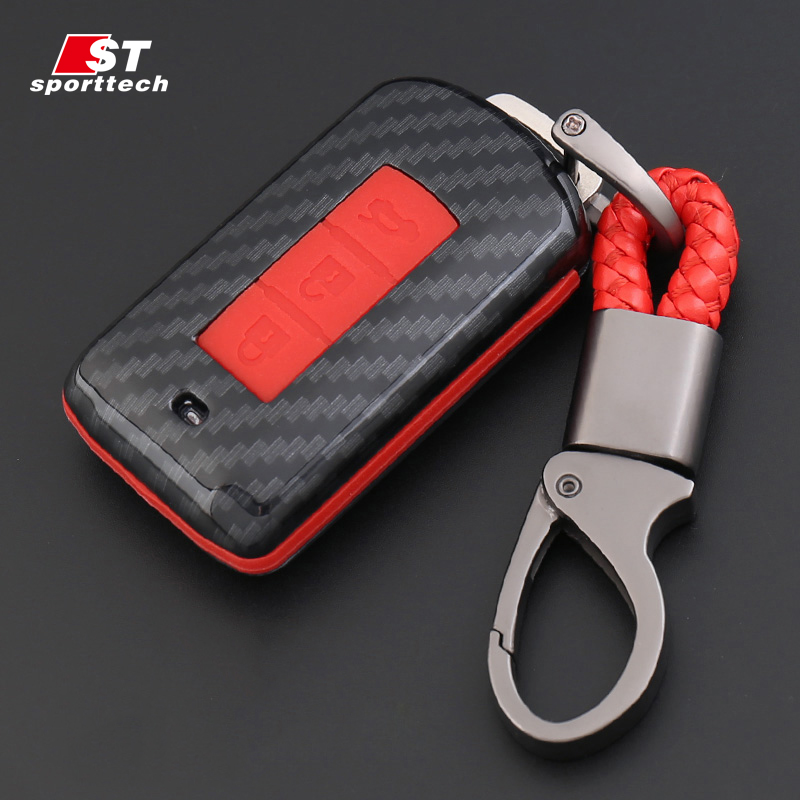 Car Key Chain 3 Button For Mitsubishi Lancer EVO/ASX/Pajero/Eclipse/Zinger/Montero sport Key Ring Case Cover Holder Car Styling