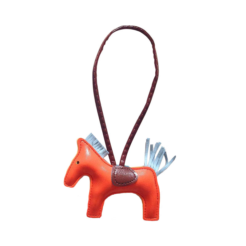 QCOOLJLY Luxury Leather Tassel Key Rings PU Little Horse Keychain Women Handbag Cute Pendant Holder Accessories Wholesale